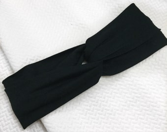 Two Teal Threads Adult Twisted Black Headband