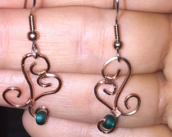 Copper and Turquoise Glass Earrings