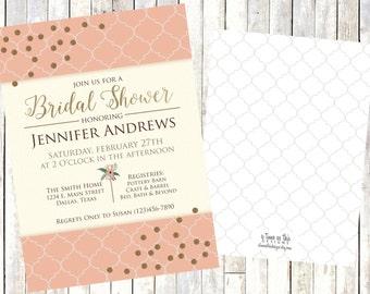 BRIDAL SHOWER INVITE - peach and gold