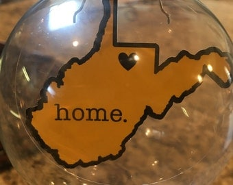Floating West Virginia Glass Ornament - 2 Versions