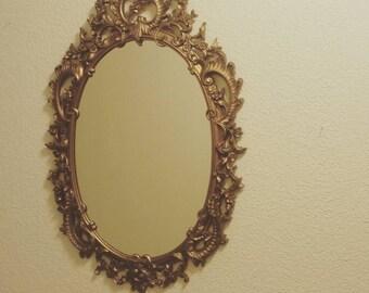 Oval syroco mirror-hollywood regency/paris apt./bathroom vanity/nursery/victorian/shabby chic/french counrty mirror 1960's SALE!