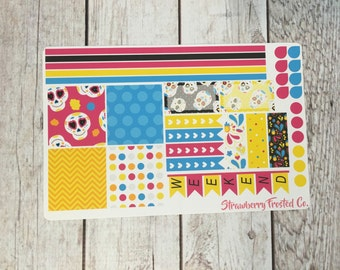 Sugar Skull Themed Planner Stickers - Made to fit Horizontal Layout