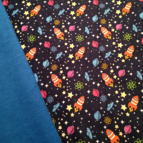 Outer space rocket ship star weighted blanket ready to ship for Outer space themed fabric
