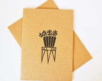 Succulent linocut, Blank Greeting Card