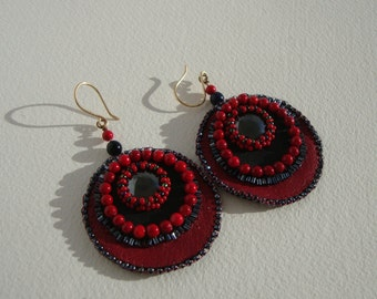 Earrings chic boho, ethnic, red, black