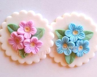 Easter Spring Mother Day Flower Bouquet Gumpaste Fondant Edible Cupcake Toppers Set 12-24pcs
