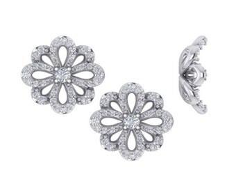 Flower Diamond Earrings, Diamond Earrings, Unique Diamond Earrings, Diamond Cluster Earrings, Womens Diamond Earrings
