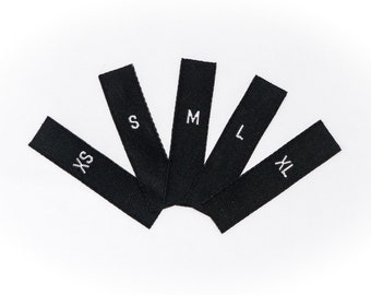 Woven Labels Adult Sizes XS S M L XL Mixed Pack Folded Woven Garment Size Labels Black Woven Label with White Print