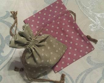 "4pc of 5.5""x8"" Fabric gift bags, drawstring bags, polka dot bags, gift bag, fabric bag, 4pc count"