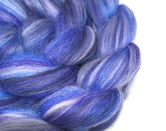 merino silk roving, top, spinning fibre, 100g - Bluebeard - blue, grey, purple