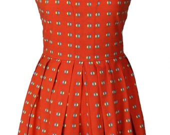 Vintage 1960s Embroidered Sun Dress Boned Bodice Red Size S