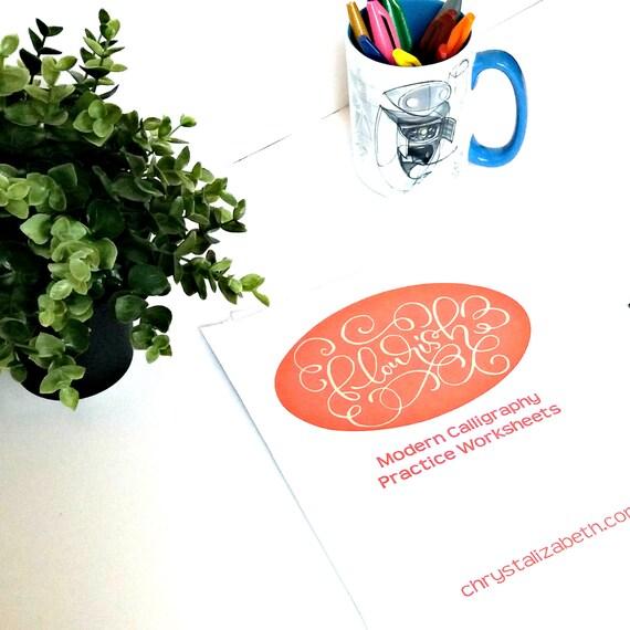 Flourish modern calligraphy practice worksheets for brush