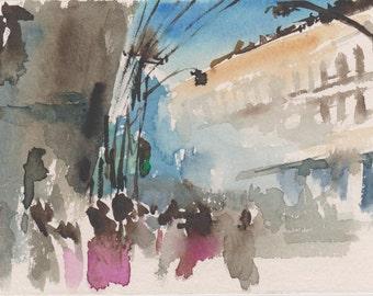 SATURDAY - original watercolor painting 7X5, landscape, people