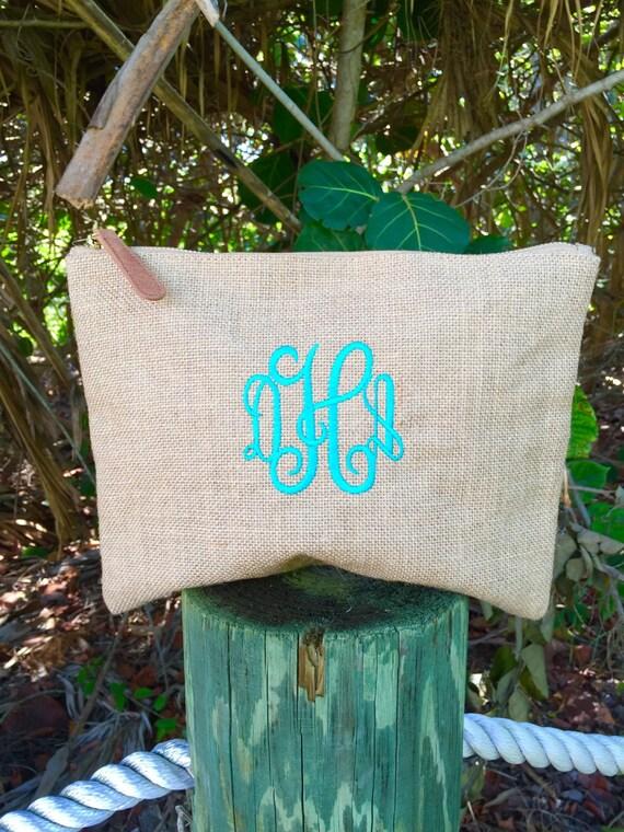 Monogram Cosmetic ~ Monogram Makeup bag~ Burlap Cosmetic Bag ~ Graduation gift ~ Bridesmaid~ wedding~ Burlap Cosmetic Case