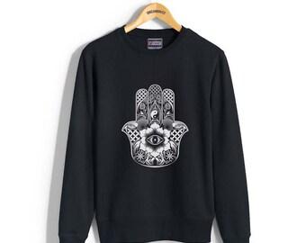 Hamsa Design or protection symbol printed on Crew neck Sweatshirt