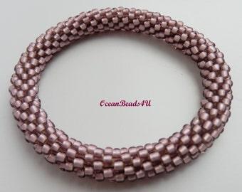 Pink Roll on Beaded Bracelet/ Bangle / Nepal Bracelet/ Armband/ Pink Bracelet