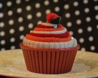 Felted Pincushion Cupcake, Cupcake Pincushion, Red & Orange Cupcake Gift