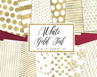 White & Gold Foil Digital Paper Pack | Gold Digital Papers, Gold Confetti | Holiday Papers | Gold Foil Christmas Papers | Set of 12 JPEGS