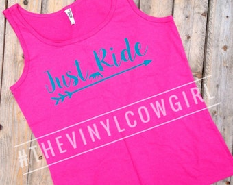 Just Ride equine, equestrian, horse, horseback, cowgirl, western tank top