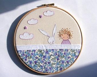 Girl With Bunny, Embroidery Hoop Art, Girls Room Decor, Art For Girls, Nursery Decor