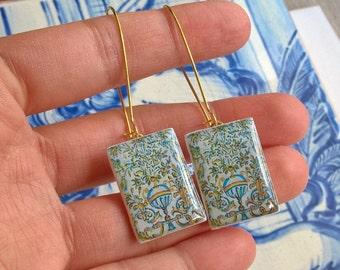 Portuguese antique tile earrings, replica of Portuguese tiles, Portuguese jewelry, panel tile miniature, rectangular tile earrings, azulejos