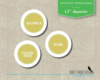 Printable Spice Jar Labels - Lime Round Spice Jar Labels - Home Organizing Stickers - Instant Download