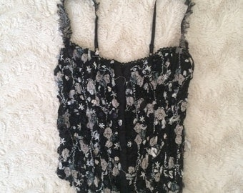 90s bebe rose embroidered corset top