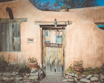 Rustic Southwestern Photography Print Southwest Decor Adobe House New Mexico Photography Santa Fe Prints Rustic Southwest Kitchen Decor