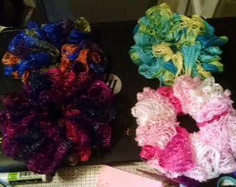 Hand Crocheted Ruffle Scrunchie - Set of 2 - You pick the colors