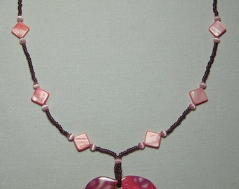 Abilone and seed bead strung necklace