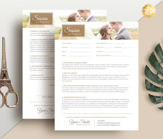 Session Contract Template for Photographer, Photography Contract Form in MS Word and Adobe Photoshop - INSTANT DOWNLOAD - SC001
