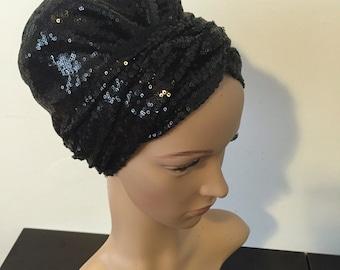 NEW* Sequin turban headwrap bandana snood tichel mitpachat black sequins