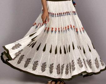 Indian Hand Block Print 50 Kali/Panels Cotton Skirt Women's Ethnic Summer Casual wear #S-11