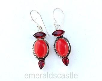 Coral - Garent 925 Sterling Silver Handmade Earrings - women fashion earrings