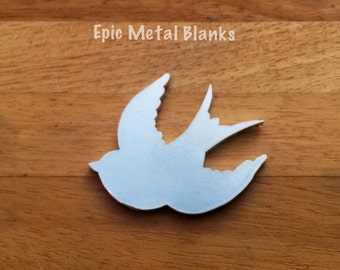 Small Swallow Aluminium Blank, Sparrow Stamping Blank, Metal Bird Blank, Flying Bird Blank, Aluminium Swallow Blank, Metal Stamping, Sparrow
