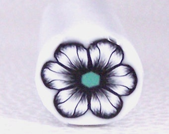 Black and White Flower Cane with Green Center / polymer clay