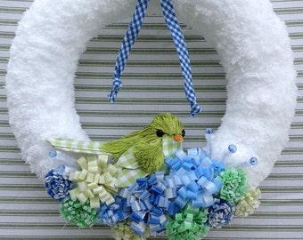 Bird Wreath, Spring Wreath, Flower Wreath, Gingham Wreath, Yarn Wreath, Spring Yarn Wreath, Spring Bird Wreath, Gingham Bird Wreath