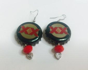 Beer bottle cap earrings