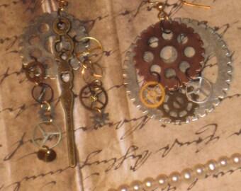 Bronze Watch hand & Gears Earrings