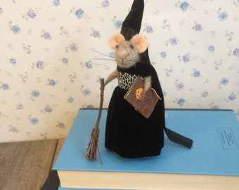 Needle Felted Little Witch Mouse Eco-friendly toy 13cm