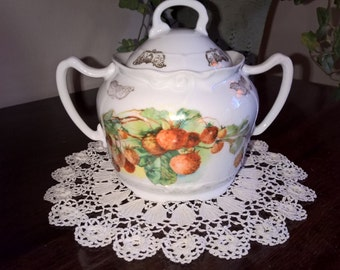 Sugar Bowl with decorated with Strawberries