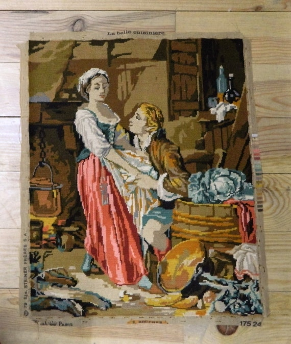 Vintage French Needlepoint Canvas Tapestry Wall Hanging