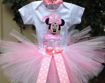 Pink Minnie Mouse Birthday Outfit Onesie Tutu FREE Hair Bow Personalized