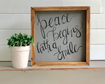 Peace Begins With A Smile | Small Rustic Sign | Home Decor | Mantle Sign | Gallery Wall