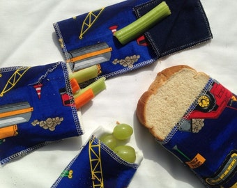 snack bag set, lunch set,reusable snack and sandwich bag set, boys big truck lunch set ,eco friendly lunch set with matching napkin