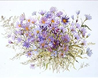 Flowers watercolor painting print