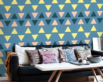Triangle Colorful Pattern - Boho Tribal Wallpaper - Removable Wallpaper - Repositionable - Adhesive - Wall Sticker - Peel and Stick