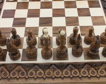 3 in 1 Checker board Wooden Chess set & Backgammon chess board wood Chess board wooden Chess box Boyfriend gift Husband gift Me's gift