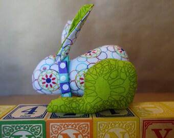 Stuffed Bunny in White & Green