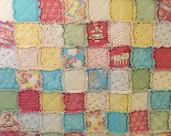 Girl's Rag Quilt – Pink, Blue, Yellow, Green – Throw Rag Quilt - Flowers, Roses, Polka Dots, Sheep - Handmade - Ready to Ship